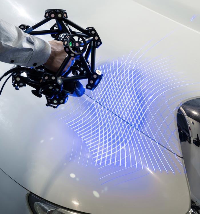 metrascan3d scanning automotive part speed