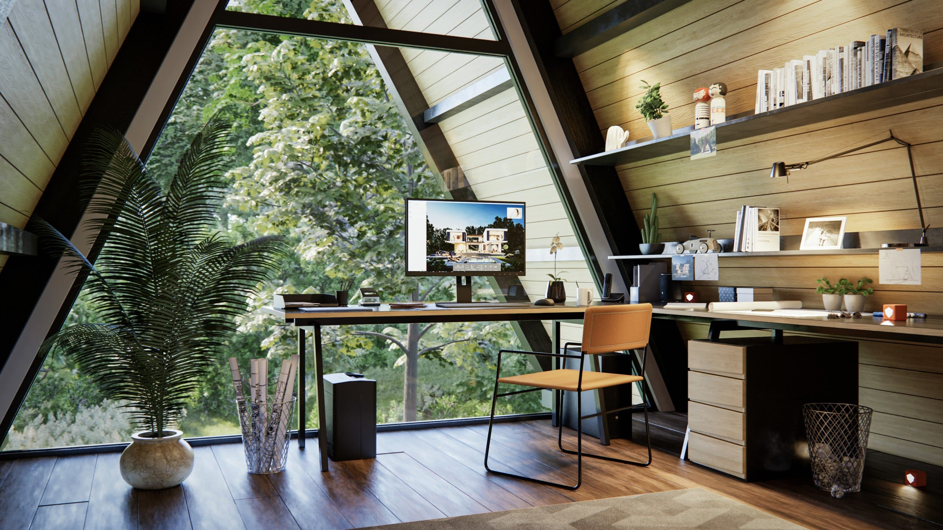 3D Rendering of an office in the woods with Enscape